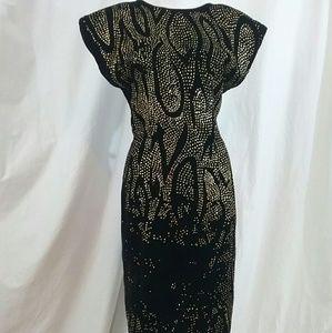 ECO Black Velvet Gold Glitter Wiggle Dress